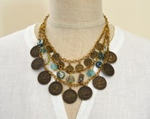 Replica coin necklace Ancient Roman glass necklace Exotic bib necklace Charm necklace Gypsy boho jewelry Multi strand statement jewelry