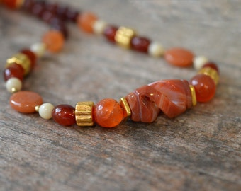 Carved agate and carnelian necklace Rust orange bead necklace Semi precious stone necklace Single strand office fashion jewelry