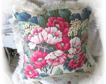 Handmade Vintage Barkcloth Pillow With Brush Fringe