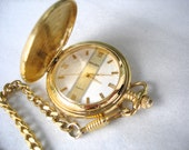 Men's Gold Tone Quartz Pocket Watch-With Chain-Gruen-Shock Resistant-Battery Operated-Excellent Condition