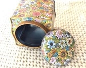 Vintage Floral Tin Canaster-Curvy-Bright-Spring