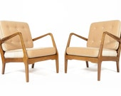 Pair of Danish Modern Mid Century Elm Lounge Chairs