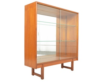 Mid Century Modern Narrow Sliding Glass Door Bookcase by Turnidge