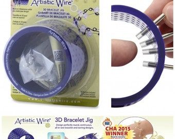 BEADALON Artistic Wire 3D Bracelet JIG, with 20 Pegs 22mm (0.86 in) L x 4mm (.15 in) O.D. and Holder tubes