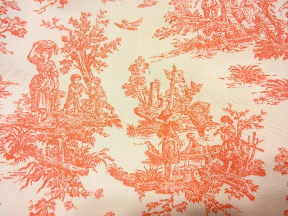 Items Similar To Jamestown Toile Coral Fabric BTY/French