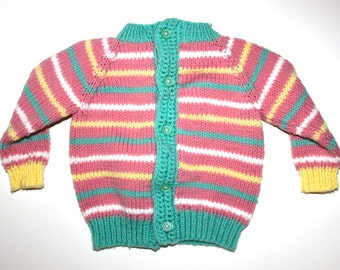 Vintage CANDY COLORED STRIPED Knit Cardigan - Little Girls - Hand Made - Taffy Colors