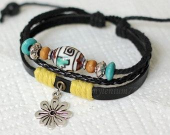 079 Women bracelet Girls bracelet Leather bracelet Flower bracelet Charm bracelet Beads bracelet Ropes bracelet Fashion bracelet