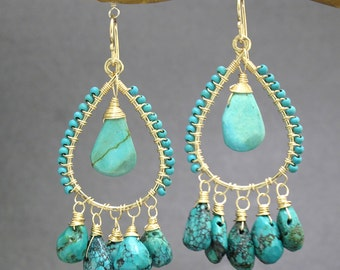 Hammered drop hoops with turquoise Aphrodite 55