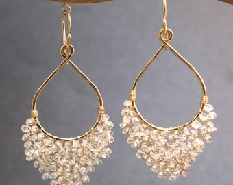 Hammered drop earrings with choice of stone Luxe Bijoux 42