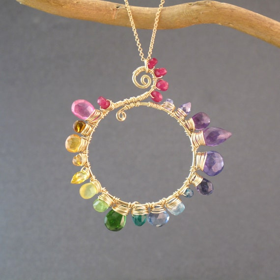 Necklace pink ruby, citrine, orange sapphire, yellow sapphire, peridot, chrome diopside, tanzanite, blue topaz, amethyst Necklace 242