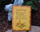 Vintage Garden Prayer Wooden Plaque Old Handmade Pansy Flower Religious Verse Cottage Farmhouse Old Fashioned Wall Decor