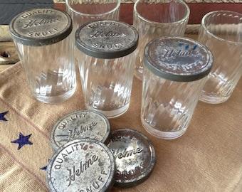 Swirl Glass Snuff Jars and Lids in Vintage Basket Juice Glasses HELME QUALITY SNUFF Kitchen Storage Primitive Farmhouse Decor