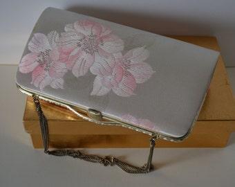 Bridal purse. pale pink and silver brocade handbag or clutch purse, 1980s vintage Japanese