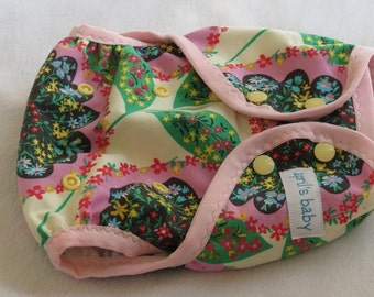 One size cloth diaper cover - garden party