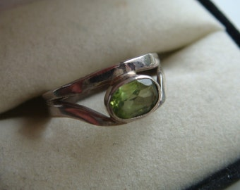 Silver Ring w  Pale Green Stone