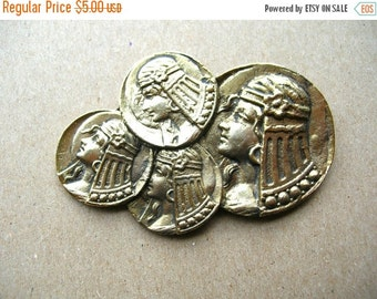 SALE Vintage Cleopatra Brooch - Gold Tone Coin Pin - Cleopatra Pin - Egyptian Brooch