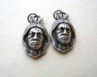 Native American Charms - Native American Indian Charms - Silver Charms - Pewter Charms - Indian Chief Charms