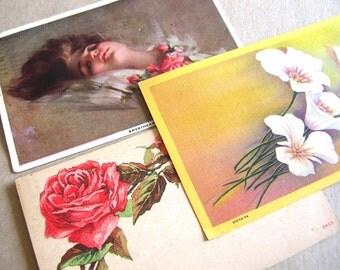 3 Antique Victorian Post Cards - Vintage Roses Post Cards - Victorian Posey Ephemera - Vintage Ephemera - Vintage Greeting Cards
