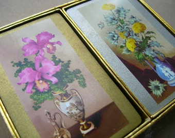 Vintage Flower Playing Cards - Double Deck Playing Cards - Vintage Playing Cards - Full Deck