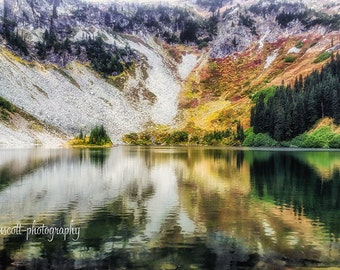 Landscape Art | Mountain Photography | Pacific Northwest Print | Reflections | Lake Ann Washington Wall Art