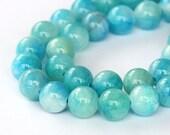 Mountain Jade Beads, Baby Blue Mix, 10mm Round - 15 Inch Strand - eMCJ-515-10