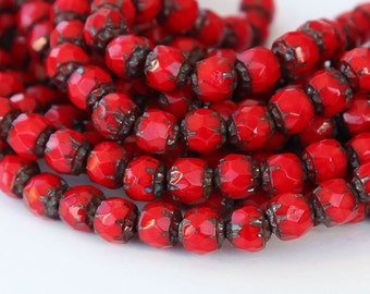 Renaissance Opaque Red Picasso Beads, 6mm Faceted Round - 25 pcs - eT9320-6f
