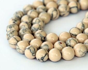 Magnesite Beads, Light Oatmeal, 6mm Round - 15 inch Strand - eGR-MG016-6