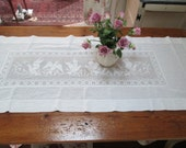 antique french metis lace crocheted  love birds white french large runner gorgeous vintage hand made heavy cotton linen table cover  linen