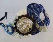 Cobalt Serpent Masquerade Mask Steampunk Feather Blue Silver White Gear Snake Half Face Asymetrical Fabric Burlesque Halloween