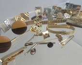 Large Lot of Vintage Mens Jewelry Cuff Links Tie Clips Lapel Pins Brooches Gold Silver tone Rhinestons Wood Lucite Money Clip Accessories
