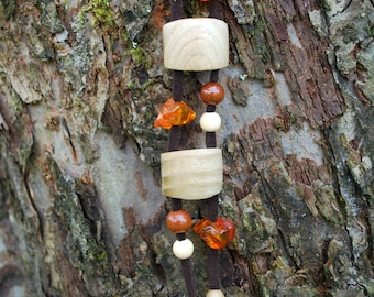 Ash Wood Amber Necklace Pendant, Nature, Eco Friendly, Woodland Jewelry, Rustic Ash Pendant, Christmas Gift Idea, Long Wood Necklace