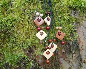Wooden Squares Minimalist Choker Pendant, Juniper Oak Birch Cherry Pendants, Mothers Day Gift, For Her Him, Girls Pendant, Friends Pendant