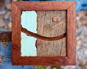 """Reclaimed Wood and Copper MicroArt """"26"""""""