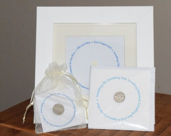 Personalised Wedding Sixpence Gift Set.  Keepsake Gift Set. The framed gift comes with your choice of either the card or gift bag.