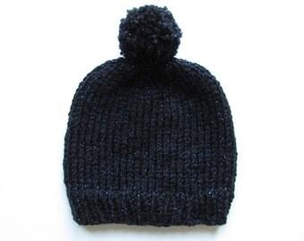 Slouchy Beanie Bobble Hat, Women Hand Knit Chunky Winter Hat with Pom Pom- Black/Blue Glitter