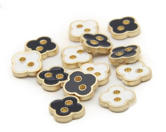 6 pcs 0.43 inch Matte Black/White Herb 2 Hole Metal Shell Buttons for Shirts