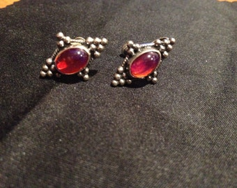 exquisite vintage sterling silver cabochon earrings