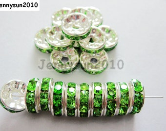 100pcs Top Quality Peridot Czech Crystal Rhinestones Silver Rondelle Spacer Beads 4mm 5mm 6mm 8mm 10mm