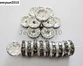 100pcs Top Quality Black Diamond Czech Crystal Rhinestones Silver Rondelle Spacer Beads 4mm 5mm 6mm 8mm 10mm