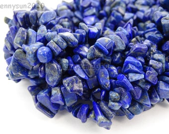Natural AAA Lapis Lazuli Gemstone 5-8mm Freeformed Chip Beads 35''  Great For Jewelry Design