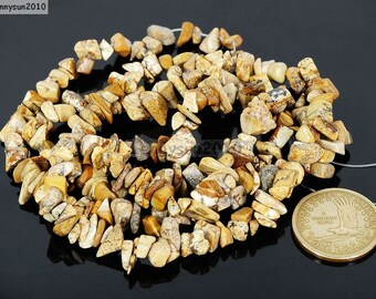Natural Picture Jasper Gemstone 5-8mm Freeformed Chip Beads 35''  Great For Jewelry Design