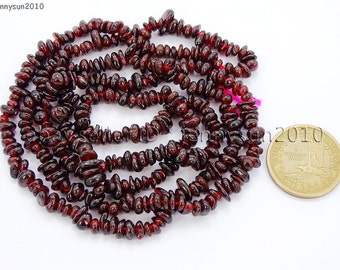 Natural Garnet Gemstone 5-8mm Freeformed Chip Beads 35''  Great For Jewelry Design