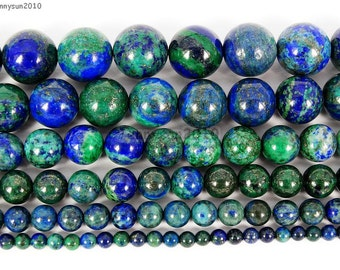 Natural Azurite In Lapis Lazuli Gemstone Loose Spacer Beads 16'' 4mm 6mm 8mm 10mm 12mm 14mm 16mm Great For Jewelry Design