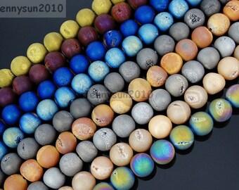 "Metallic Titanium Coated Druzy Quartz Agate Gemstones Round Beads 15"" 8mm 10mm 12mm 14mmGreat For Jewelry Design and Crafts"