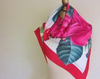 ROSES silk scarf, vintage Adrienne Vittadini, romantic, square, 1980s lush