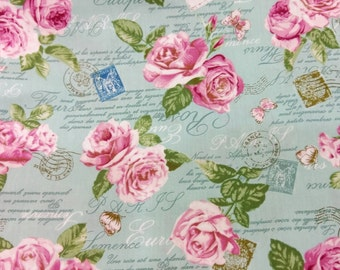 Pink Roses Cotton Fabric, Roses Fabric, Cotton Fabric, Fabric By The Yard, Floral Cotton Fabric, Vintage Style Floral Cotton Fabric