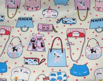 Cream Cats and Bags Cotton Fabric, Cats Fabric, Kitty Fabric, Purse Cotton Fabric, Cream Cotton Fabric, Fabric By The Yard