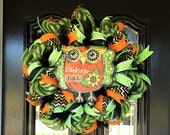 Halloween Wreath - Halloween Deco Mesh Wreath - Halloween Mesh Wreath - Front Door Wreath - Custom Halloween Wreath -  Halloween Owl Wreath