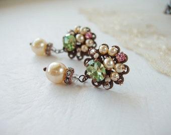 Romantic Crystal Earrings. Crystal Jewelry. Green & Pink Crystal Studs. Rhinestone Earrings. Pearl Dangles. Earrings for Her Gift Ideas