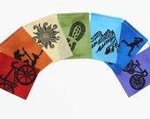 Gratitude Flags, Outdoor Adventure, Prayer Flags (small) (Made with original hand carved block prints)